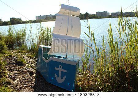 The Handmade ship made of the cardboard