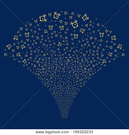 Buzzer salute stream. Vector illustration style is flat yellow iconic symbols on a blue background. Object explosion fountain constructed from random pictographs.