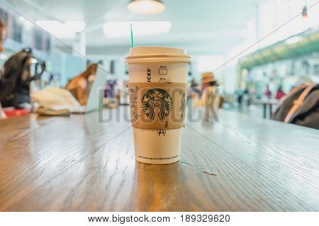 Kuala lumpur Malaysia MAY 24 2017: A Starbucks coffee and order name in starbucks offee shop at airport. Starbucks is the world's largest coffee house with over 20000 stores in 61 countries.