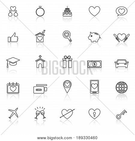 Family line icons with reflect on white background, stock vector