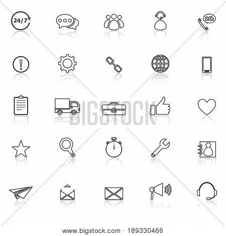 Customer service line icons with reflect on white background, stock vector
