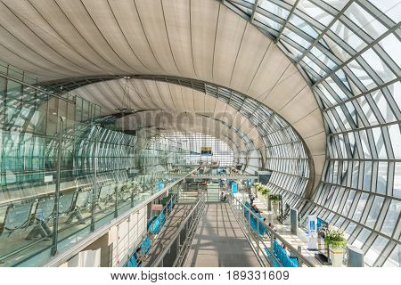SAMUT PRAKAN THAILAND - MAR 1 2016 : Passenger Building of Suvarnabhumi Airport is one of two international airports serving Bangkok Thailand. The airport is located in Bang Phli Samut Prakan about 25 km of Bangkok.
