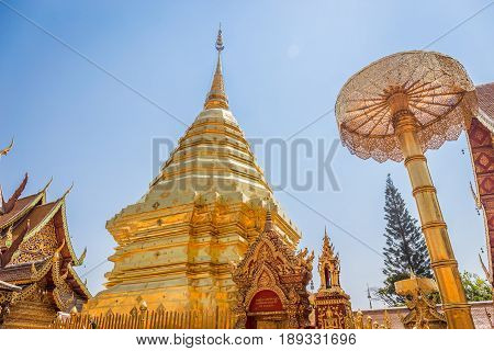 Abstract golden pagoda at Wat Phra That Doi Suthep is a Theravada buddhist temple near Chiang Mai, Thailand