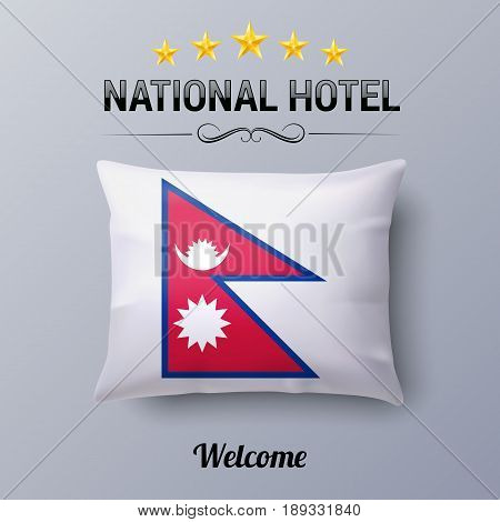 Realistic Pillow and Flag of Nepal as Symbol National Hotel. Flag Pillow Cover with Nepalese flag