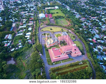 Cathedral in Managua Nicaragua aerial above view from drone