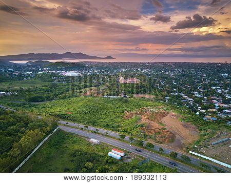 Aerial Panorama View On Managua City