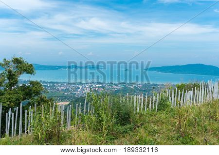 Landscape of city beaches with blue sky background at Phuket Thailand view from Big Buddha temple viewpoint.
