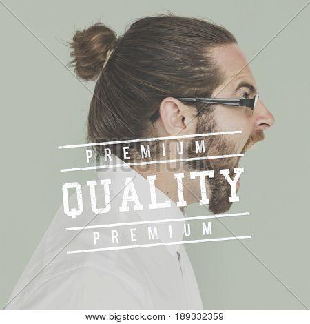 Premium Quality Guarantee Word Stamp Banner Graphic