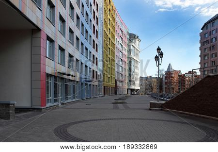 Modern residential buildings in Vasileostrovsky district of the federal city of St. Petersburg Russia