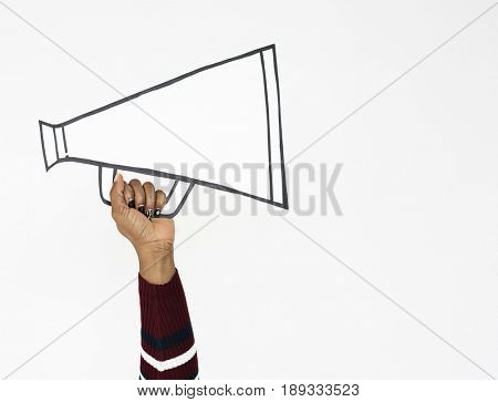 Hand Holding Megaphone Papercraft Icon