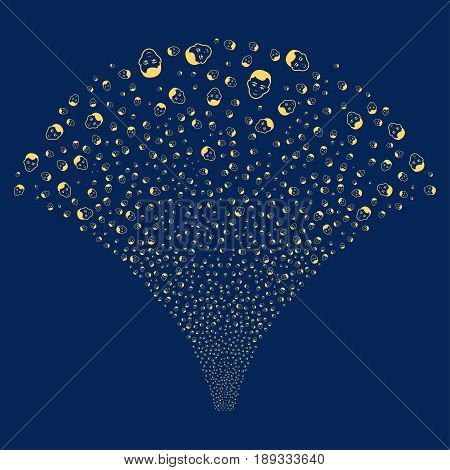 Man Head salute stream. Vector illustration style is flat yellow iconic symbols on a blue background. Object stream fountain done from random icons.