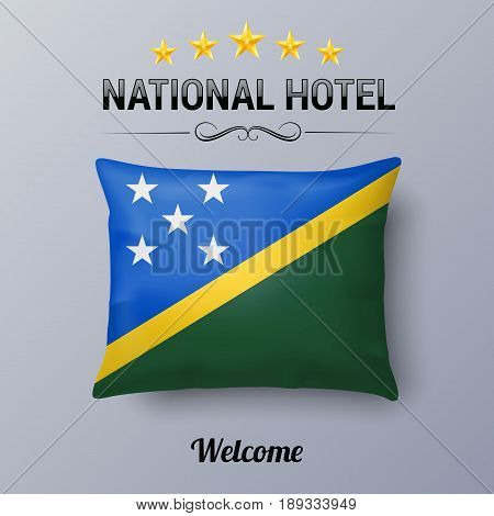 Realistic Pillow and Flag of Solomon Islands as Symbol National Hotel. Flag Pillow Cover with flag design