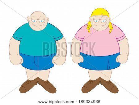 funny fat boy and girl cartoon vector illustration