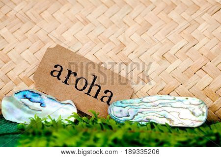 NZ - Kiwi - Maori theme - backgrounds and objects -with Maori word for love and respect (aroha)