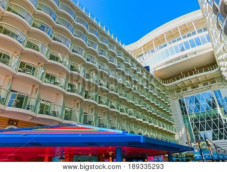 Barcelona, Spain - September 06, 2015: The Cruise Ship Allure Of The Seas Owned Royal Caribbean Inte