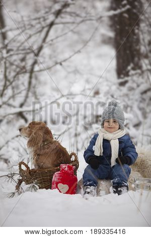 a boy and his dog got lost in the winter snowy forest and sat down to rest