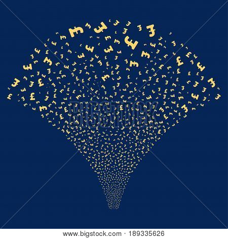 Pound Sterling salute stream. Vector illustration style is flat yellow iconic symbols on a blue background. Object source fountain made from random symbols.