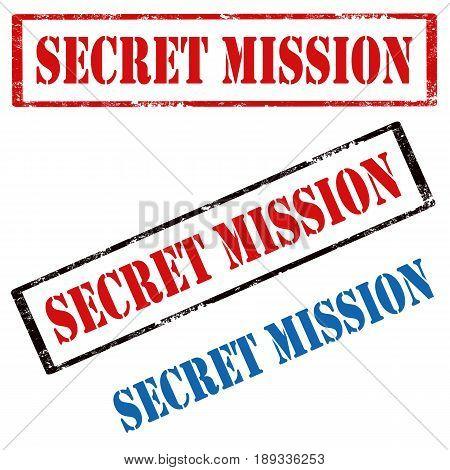 Set of stamps with text Secret Mission,vector illustration
