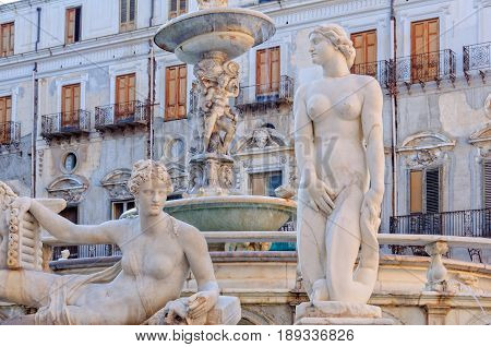 Details of the Praetorian Fountain in front of the Praetorian Palace - Palermo Sicily Italy