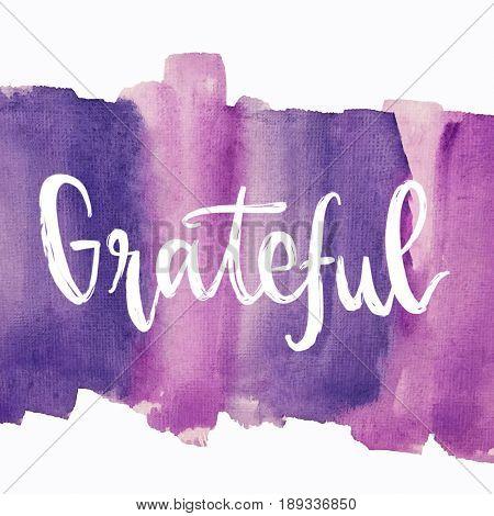 Grateful message written on purple painted background