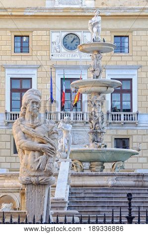 Details of the Praetorian Fountain and Palace - Palermo Sicily Italy