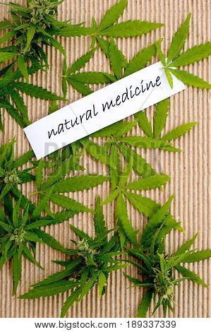 Medicinal Marijuana - Natural - leaves on corrugated cardboard with text