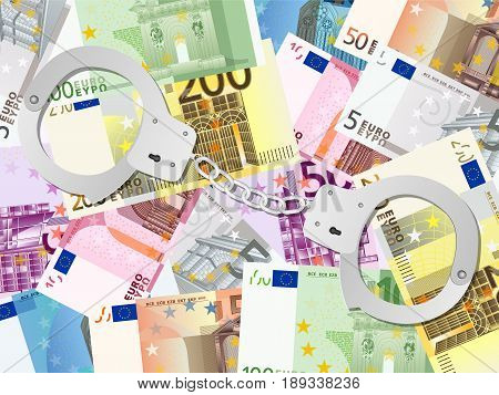Handcuffs On Euros Background