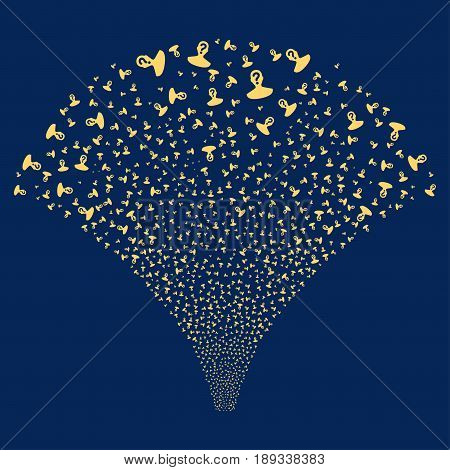 Unknown Person salute stream. Vector illustration style is flat yellow iconic symbols on a blue background. Object fireworks fountain organized from random icons.