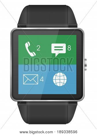 Smart watch on a white background. Vector illustration.