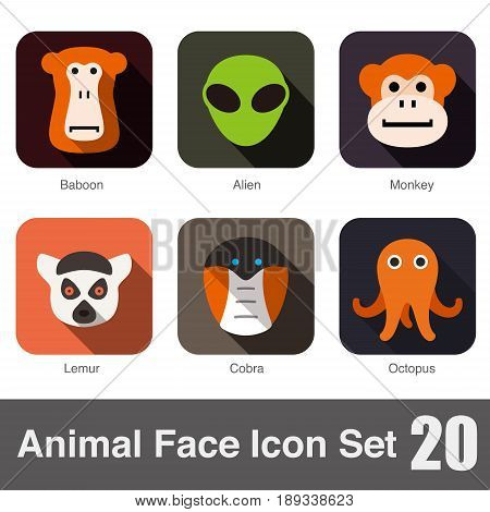Animal Face Flat Icons Set, Vector Illustration