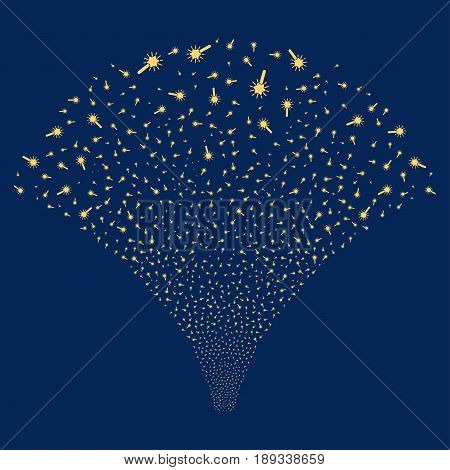 Wand Magic Tool salute stream. Vector illustration style is flat yellow iconic symbols on a blue background. Object fireworks fountain made from random icons.
