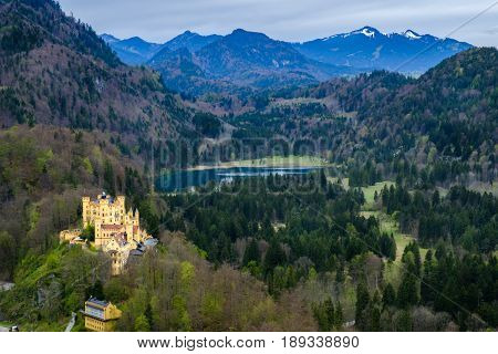 Hohenschwangau castle view from Neuschwanstein castle the famous viewpoint in Fussen Germany