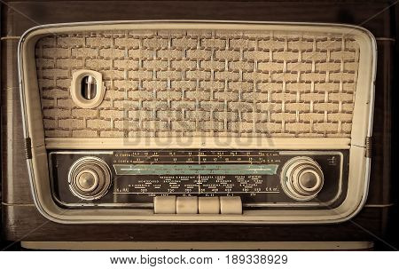 Isolated take of a vintage tube radio