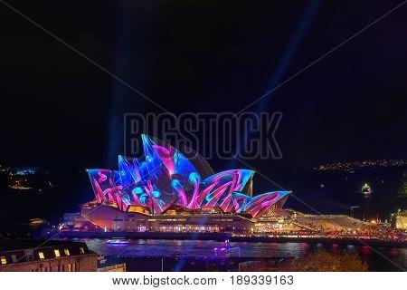 Sydney Opera House With Illuminated Vivid Colourful.