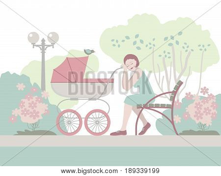Tired young mother with pink baby stroller sleeping on a park bench. Illustration in gentle tone