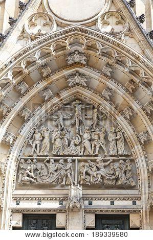 14th century St. Vitus Cathedral facade relief gothic portal Prague Czech Republic