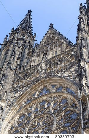 14th century St. Vitus Cathedral facade Prague Czech Republic. Cathedral is a Roman Catholic metropolitan cathedral in Prague the seat of the Archbishop of Prague.