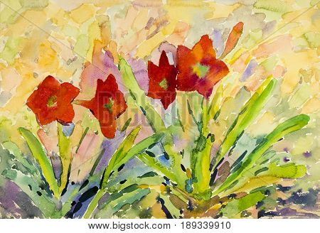 Abstract watercolor original painting red color of amaryllis flower and green leaves in sky background.