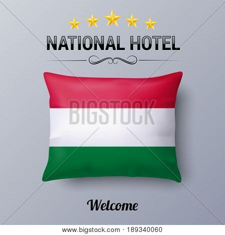 Realistic Pillow and Flag of Hungary as Symbol National Hotel. Flag Pillow Cover with Hungarian flag