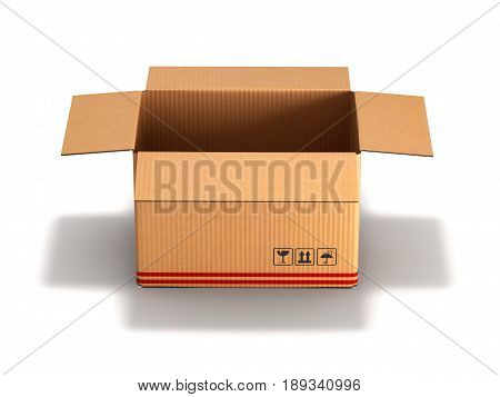 Open Cardboard Box Isolated On White Background 3D
