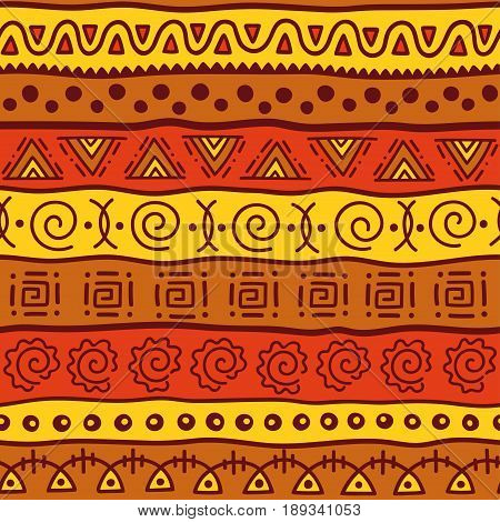 Seamless color pattern in ethnic style. Ornamental element African theme. Set of seamless vintage decorative tribal border. Traditional African pattern background with tribal elements form.