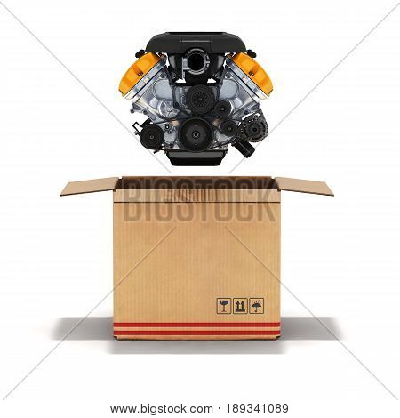 Packaging Engine In A Cardboard Box 3D Illustration
