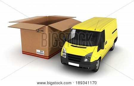 Yellow Delivery Van With Opened Cardboard Box 3D