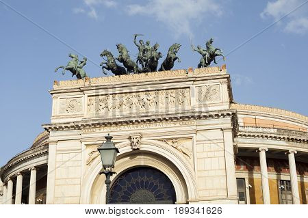 View of the Politeama theater in Palermo Sicily. Italy