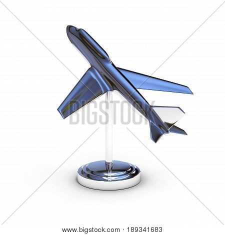 A Shine Chrome Airplane Model Isolated On White 3D