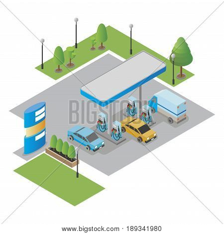 Gas station, petrol station, gasoline. isolated vector illustration.