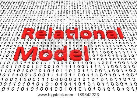 Relational model as binary code 3D illustration