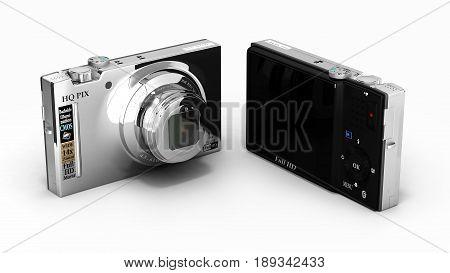 Digital Photo Camera Isolated On White Background 3D