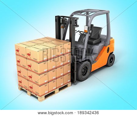 Forklift Truck With Boxes On Pallet On Gradient Background 3D