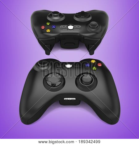black gamepads on purple gradient background 3d